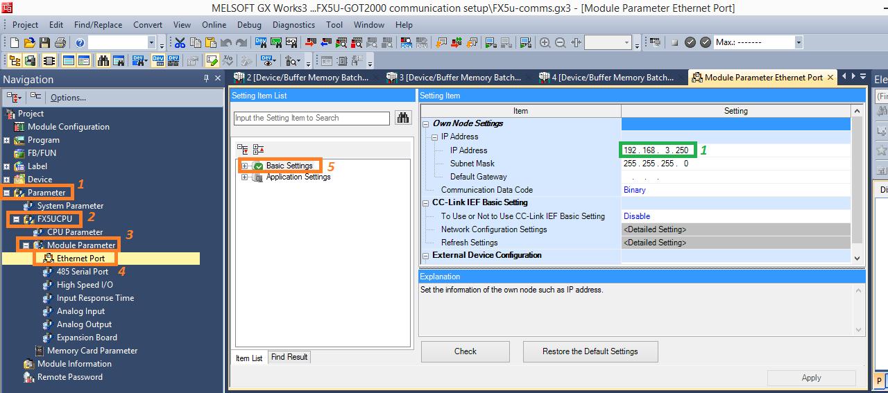 Inter-device Data communication setup between FX5U PLC and GOT2000