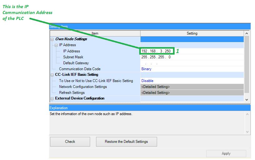 Inter-device Data communication setup between FX5U PLC and