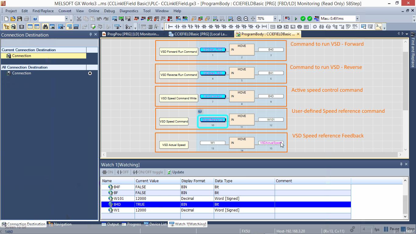 FR-F800E (VSD) – FX5U (PLC) device inter-communication via